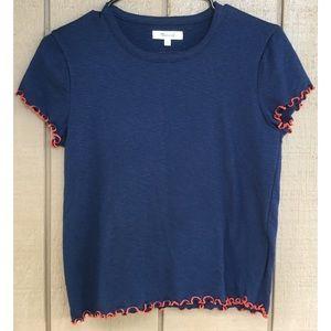 Madewell Blue Red Ruffle T Shirt
